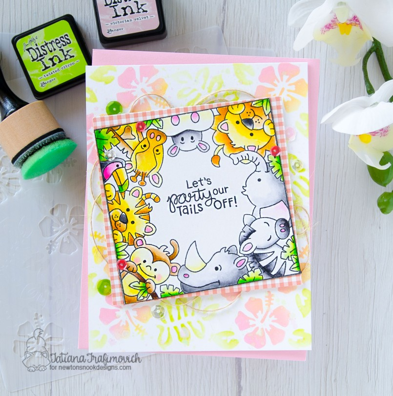 Let's Party #handmade card by Tatiana Trafimovich #tatianacraftandart - Zoo Party stamp set by Newton's Nook Designs #newtonsnook