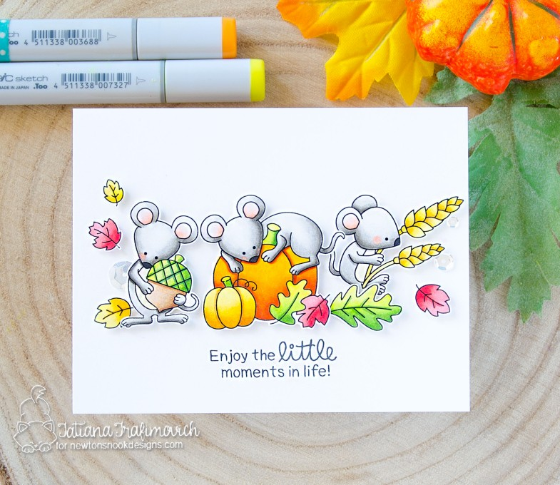 Enjoy The Little Moments #handmade card by Tatiana Trafimovich #tatianacraftandart - Autumn Mice stamp set by Newton's Nook Designs #newtonsnook