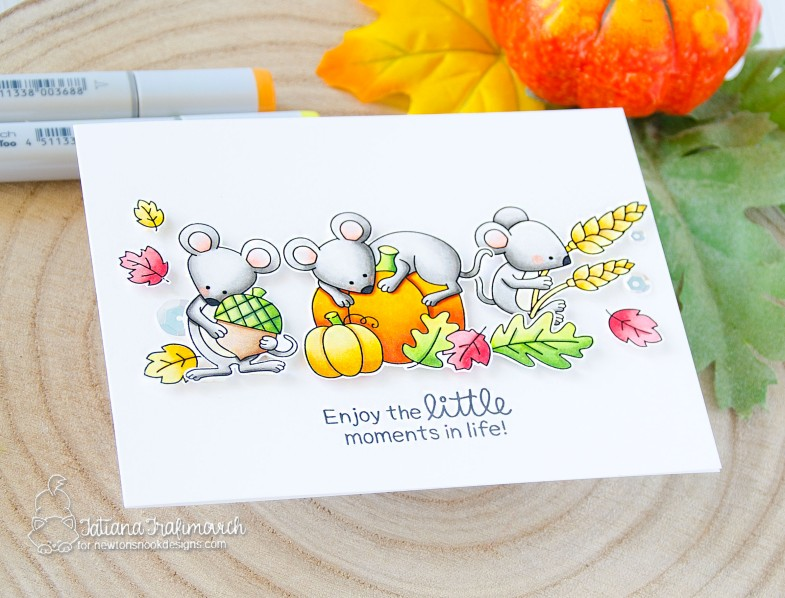 Enjoy The Little Moments #handmade card by Tatiana Trafimovich #tatianacraftandart - Autumn Mice stamp set by Newton's Nook Designs #newtonsnook