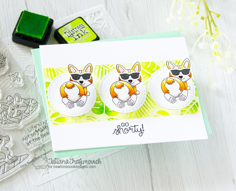 Go Shorty #handmade card by Tatiana Trafimovich #tatianacraftandart - Corgi Beach stamp set by Newton's Nook Designs #newtonsnook