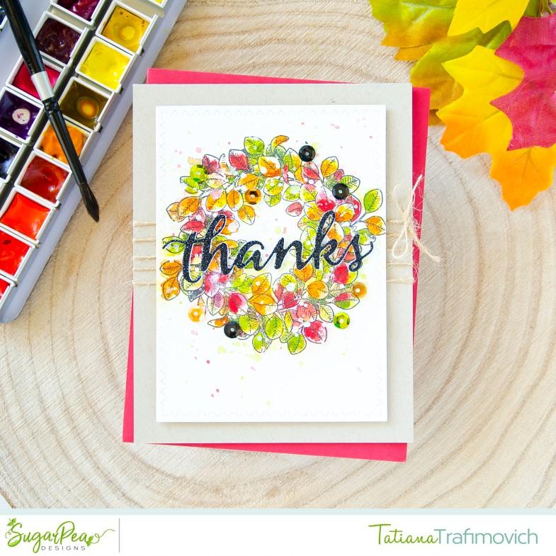 Thanks #handmade card by Tatiana Trafimovich #tatianacraftandart - Eucalyptus Wreath stamp set by SugarPea Designs #sugarpeadesigns