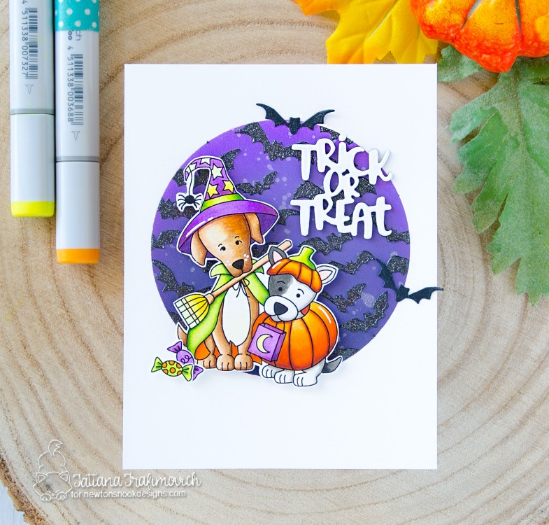 Trick Or Treat #handmade card by Tatiana Trafimovich #tatianacraftandart - Happy Howl-oween stamp set by Newton's Nook Designs #newtonsnook