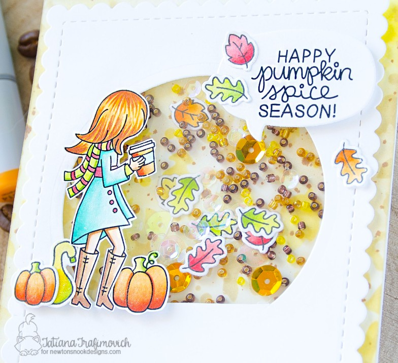 Happy Pumpkin Spice Season #handmade card by Tatiana Trafimovich #tatianacraftandart - Pumpkin Latte stamp set by Newton's Nook Designs #newtonsnook
