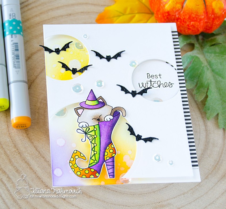 Best Witches #handmade card by Tatiana Trafimovich #tatianacraftandart - Witchy Newton stamp set by Newton's Nook Designs #newtonsnook