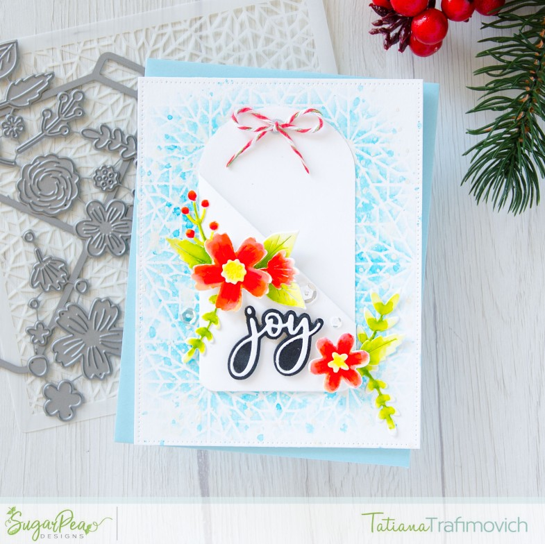 Joy #handmade card by Tatiana Trafimovich #tatianacraftandart - Floral Pocket Tag Die by SugarPea Designs #sugarpeadesigns