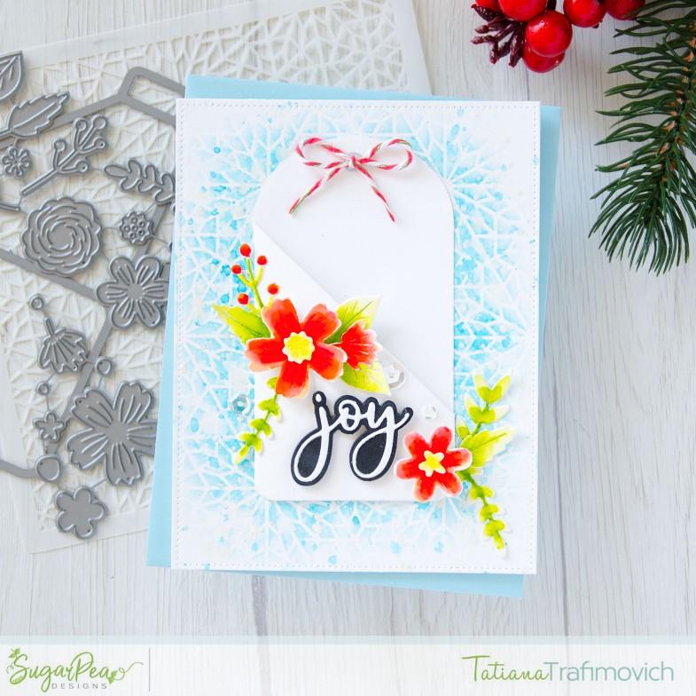 Joy #handmade card by Tatiana Trafimovich #tatianacraftandart - Floral Pocket Tag Die by SugarPea Designs #sugarpeadesigns
