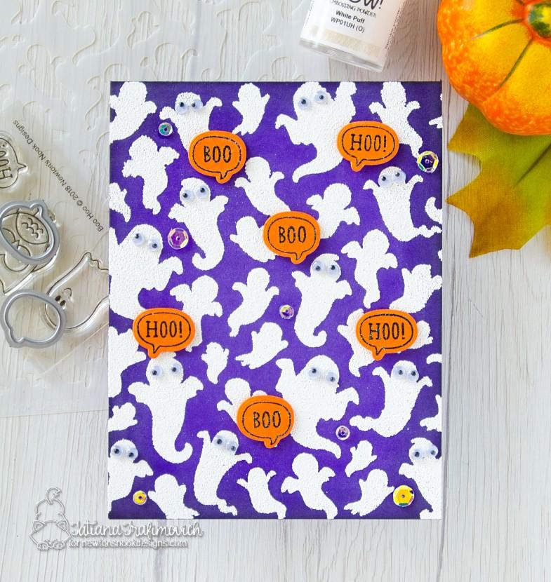 Boo Hoo #handmade card by Tatiana Trafimovich #tatianacraftandart - stamp, dies and stencil by Newton's Nook Designs #newtonsnook
