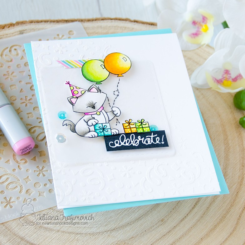 Celebrate #handmade card by Tatiana Trafimovich #tatianacraftandart - exclusive STAMPtember Let's Pawty stamp set by Newton's Nook Designs #newtonsnook