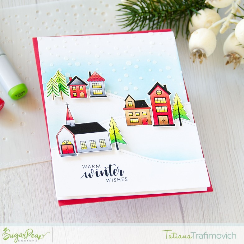 Warm Winter Wishes #handmade card by Tatiana Trafimovich #tatianacraftandart - exclusive STAMPtember Nordic Village stamp set by SugarPea Designs #sugarpeadesigns
