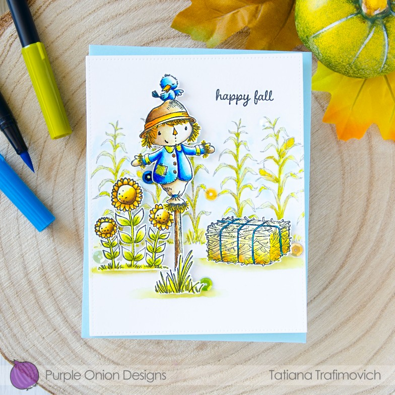 Happy Fall #handmade card by Tatiana Trafimovich #tatianacraftandart - stamps by Purple Onion Designs #purpleoniondesigns