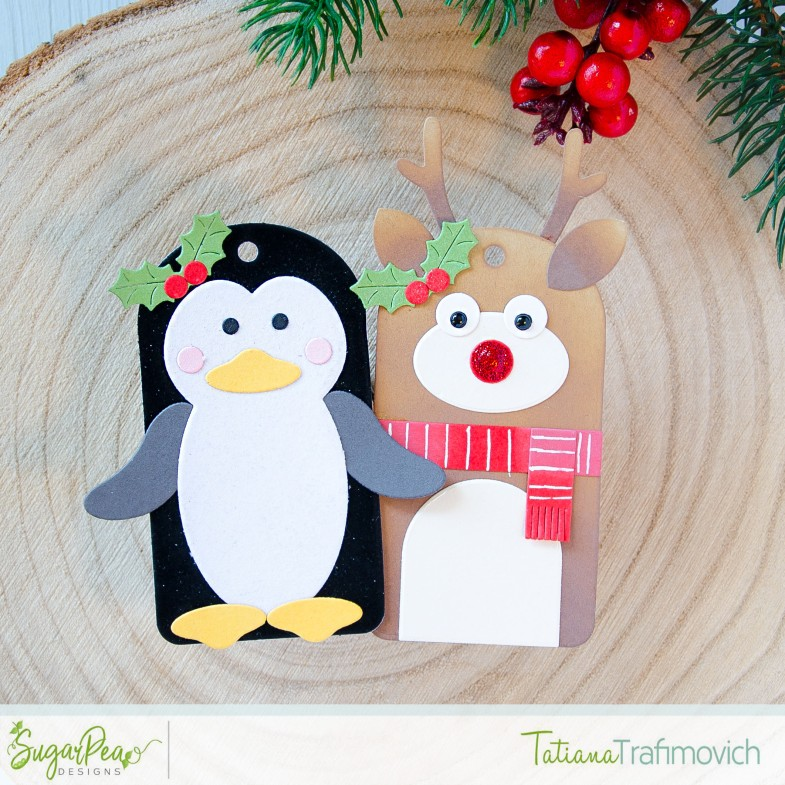 DIY Christmas Tags #handmade by Tatiana Trafimovich #tatianacraftandart - Christmas Characters die set by SugarPea Designs #sugarpeadesigns