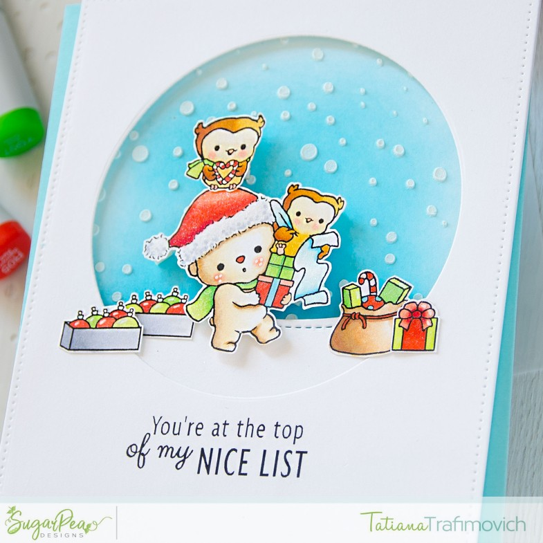You're At The Top Of My Nice List #handmade card by Tatiana Trafimovich #tatianacraftandart - Christmas Cheer stamp set by SugarPea Designs #sugarpeadesigns