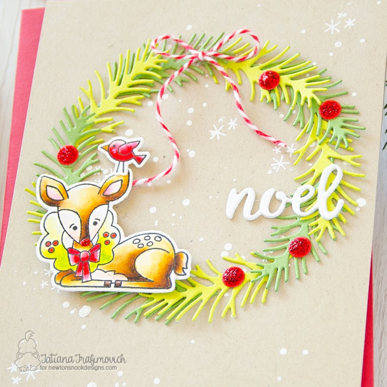 NOEL #handmade card by Tatiana Trafimovich #tatianacraftandart - Festive Fawns stamp set by Newton's Nook Designs #newtonsnook