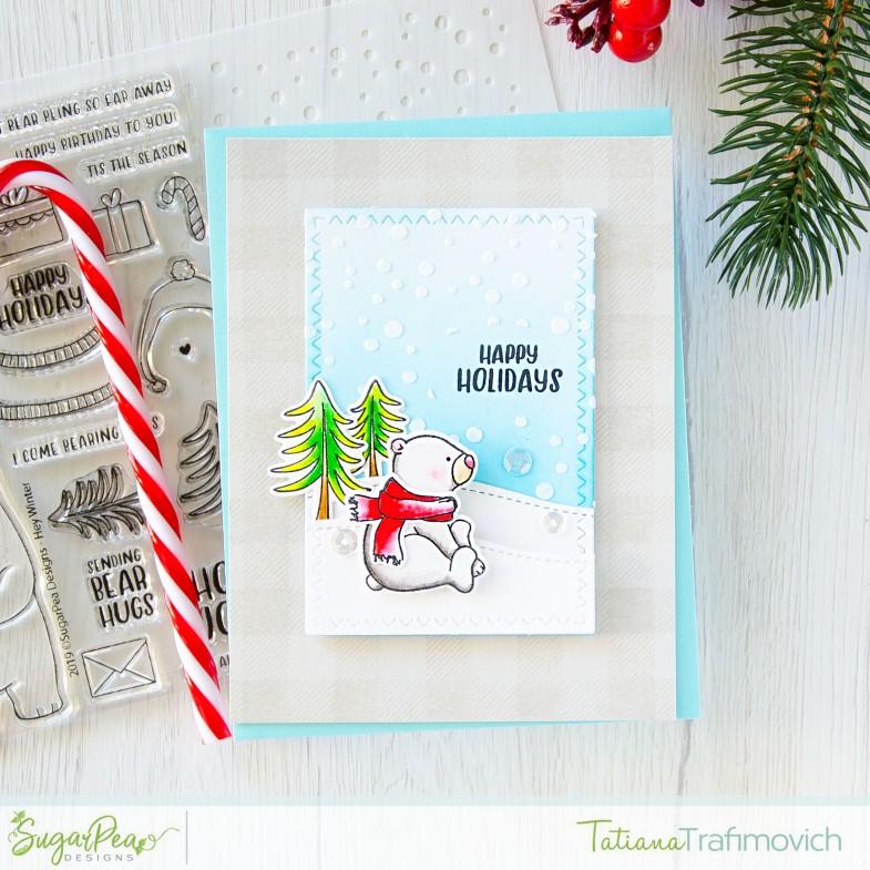 Happy Holidays #handmade card by Tatiana Trafimovich #tatianacraftandart - Hey Winter stamp set by SugarPea Designs #sugarpeadesigns