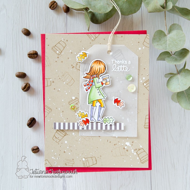 Thanks A Latte #handmade card by Tatiana Trafimovich #tatianacraftandart - Pumpkin Latte stamp set by Newton's Nook Designs #newtonsnook