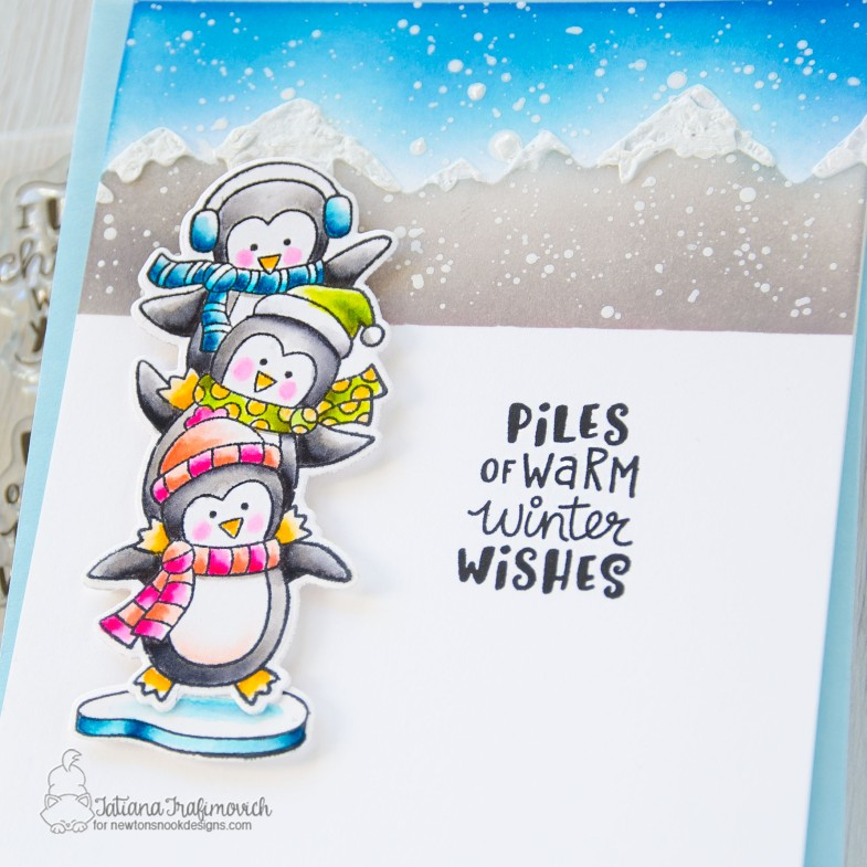 Piles Of Warm Winter Wishes #handmade card by Tatiana Trafimovich #tatianacraftandart - Penguin Pile stamp set by Newton's Nook Designs #newtonsnook