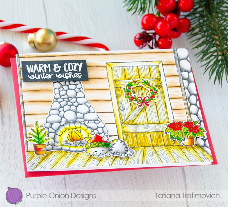 Warm & Cozy Winter Wishes #handmade card by Tatiana Trafimovich #tatianacraftandart - stamps by Purple Onion Designs #purpleoniondesigns