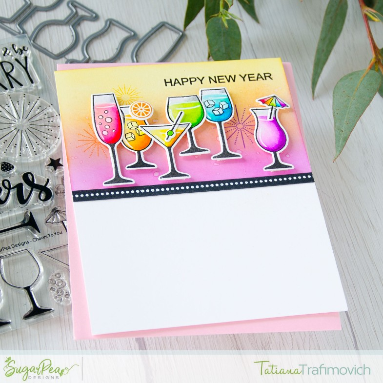 Happy New Year #handmade card by Tatiana Trafimovich #tatianacraftandart - Cheers To You stamp set by SugarPea Designs #sugarpeadesigns