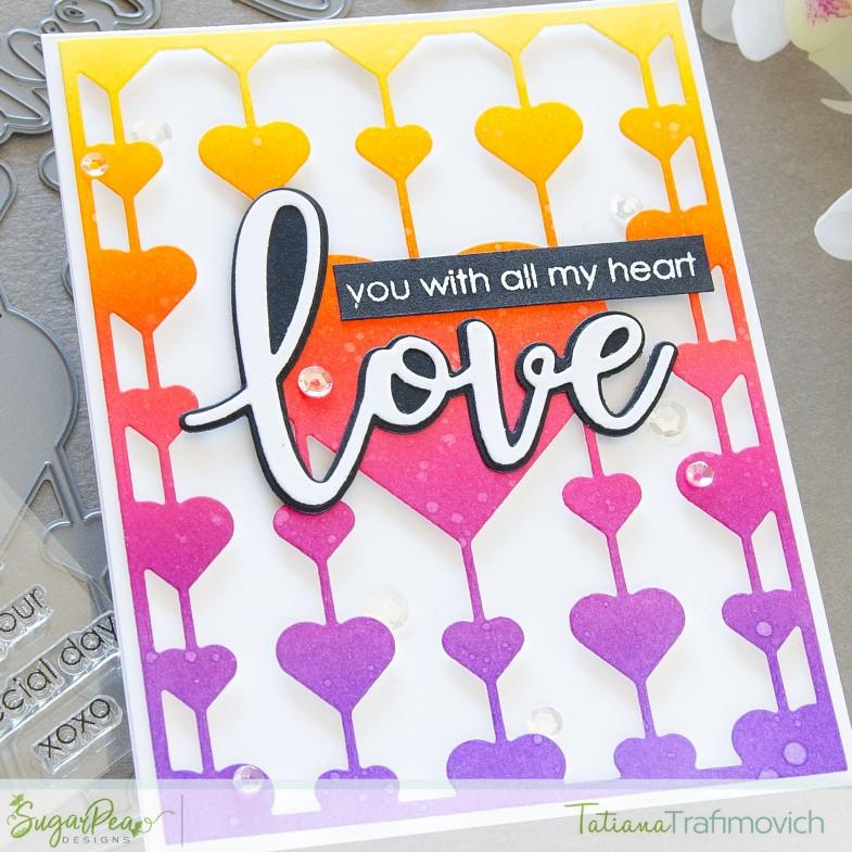 Love card by Tatiana Trafimovich #tatianacraftandart - stamps and dies by SugarPea Designs #sugarpeadesigns