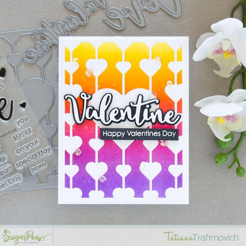 Valentine's Day card by Tatiana Trafimovich #tatianacraftandart - stamps and dies by SugarPea Designs #sugarpeadesigns