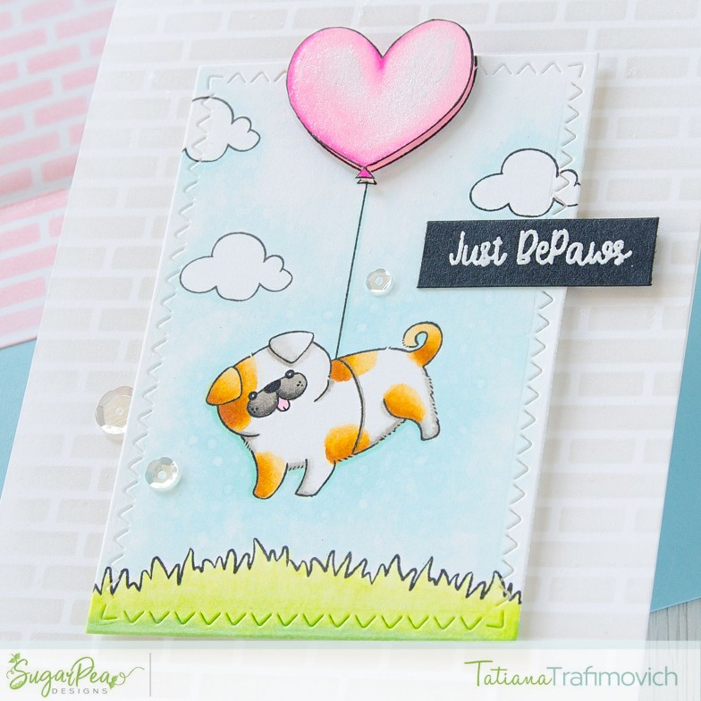 Just BePaws #handmade card by Tatiana Trafimovich #tatianacraftandart - For Pug Sake stamp set by SugarPea Designs #sugarpeadesigns