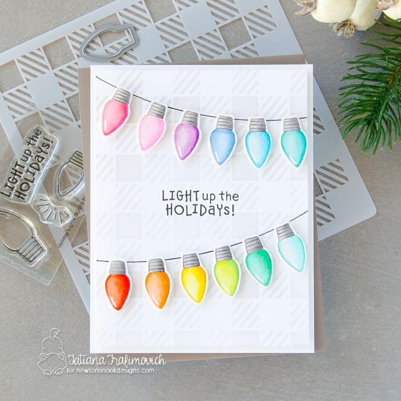 Light Up The Holiday #handmade card by Tatiana Trafimovich #tatianacraftandart - Holiday Lights stamp set by Newton's Nook Designs #newtonsnook
