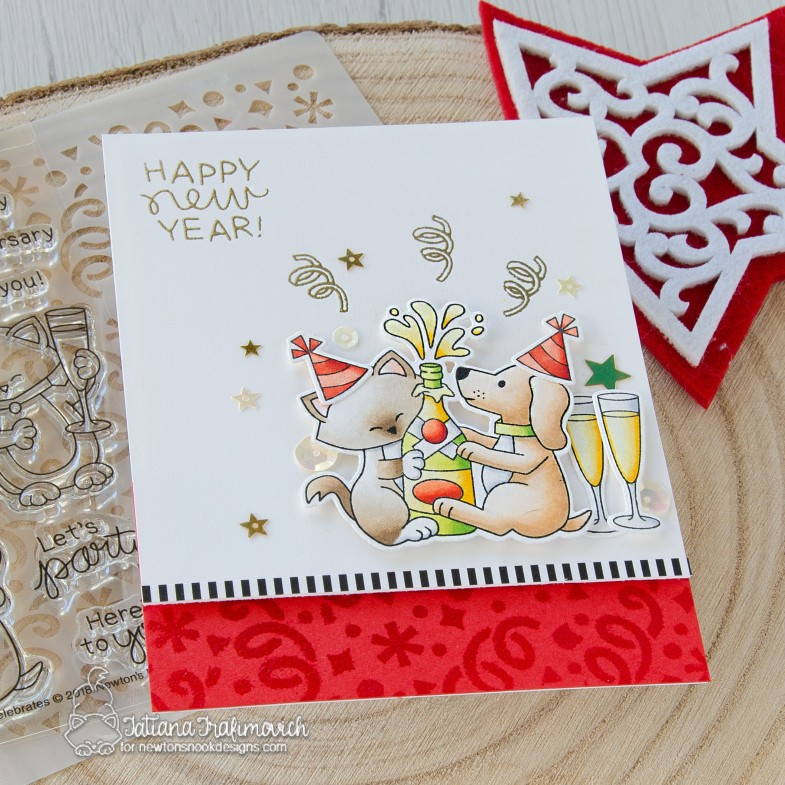 Happy New Year #handmade card by Tatiana Trafimovich #tatianacraftandart - Newton Celebrates stamp set by Newton's Nook Designs #newtonsnook