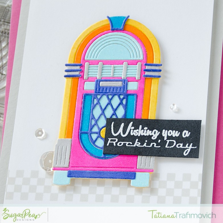 Wishing You A Rockin' Day #handmade card by Tatiana Trafimovich #tatianacraftandart - Jukebox Jive stamp set by SugarPea Designs #sugarpeadesigns