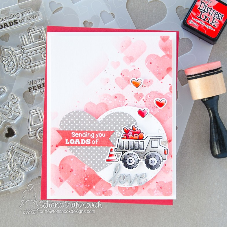 Sending You Loads of Love #handmade card by Tatiana Trafimovich #tatianacraftandart - Love Quarry stamp set by Newton's Nook Designs #newtonsnook