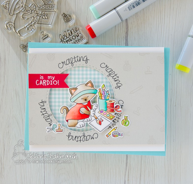 Crafting Is My Cardio #handmade card by Tatiana Trafimovich #tatianacraftandart - Newton's Crafty Cardio stamp set by Newton's Nook Designs #newtonsnook