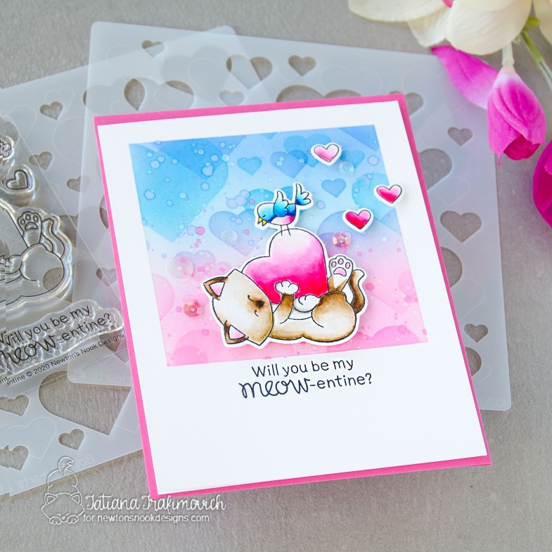 Will You Be MEOW-entine #handmade card by Tatiana Trafimovich #tatianacraftandart - Newton's Valentine stamp set by Newton's Nook Designs #newtonsnook