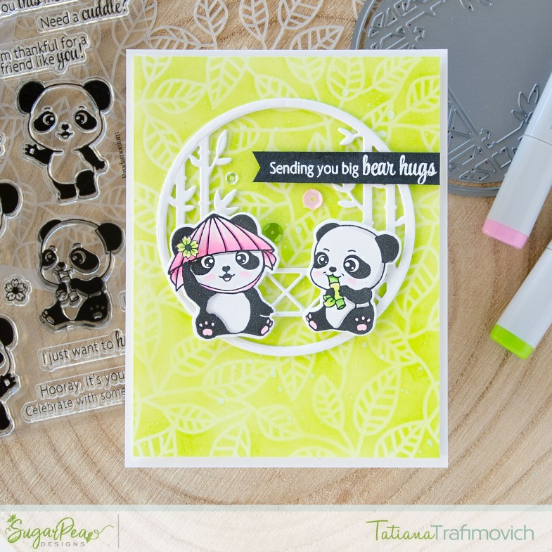 Sending You Big Bear Hugs #handmade card by Tatiana Trafimovich #tatianacraftandart - Pandamonium stamp set by SugarPea Designs #sugarpeadesigns