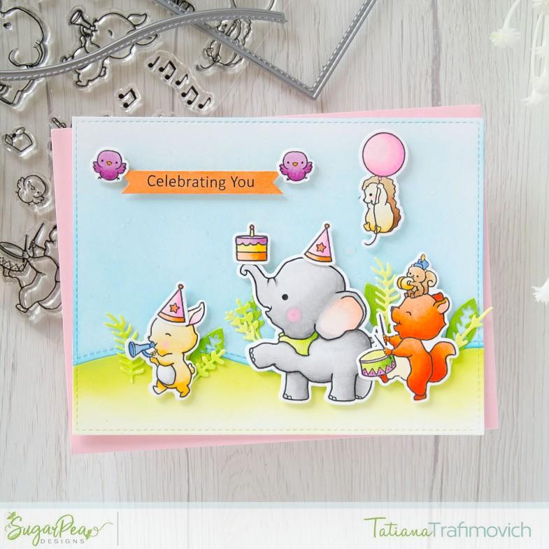 Celebrating You #handmade card by Tatiana Trafimovich #tatianacraftandart - Strike Up The Band stamp set by SugarPea Designs #sugarpeadesigns