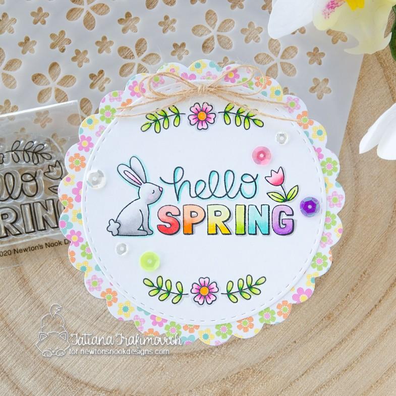 Hello Spring #handmade card by Tatiana Trafimovich #tatianacraftandart - Hello Spring stamp set by Newton's Nook Designs #newtonsnook