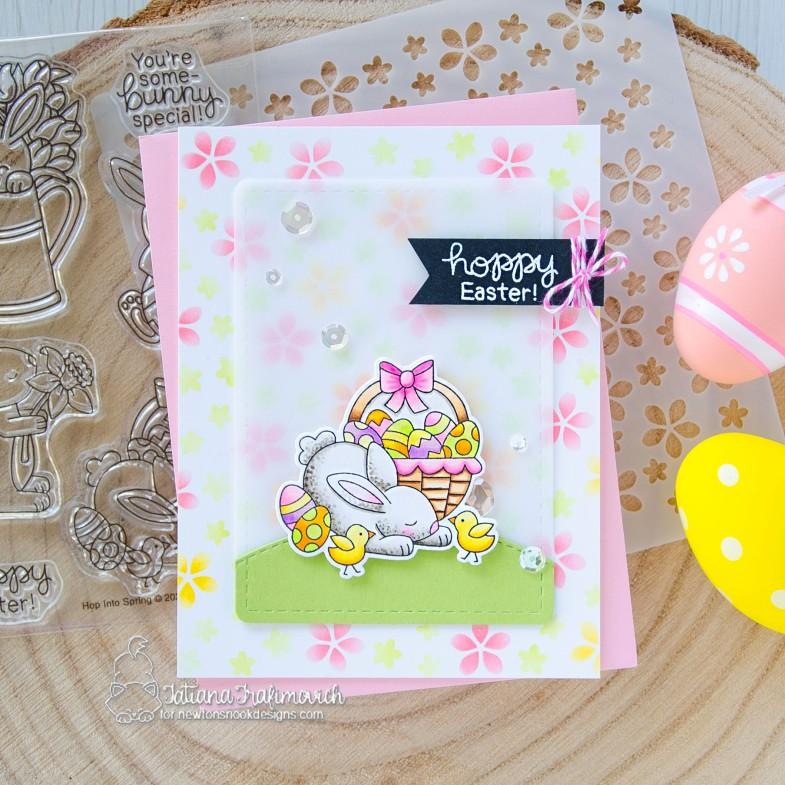 Hoppy Easter #handmade card by Tatiana Trafimovich #tatianacraftandart - Hop Into Spring stamp set by Newton's Nook Designs #newtonsnook