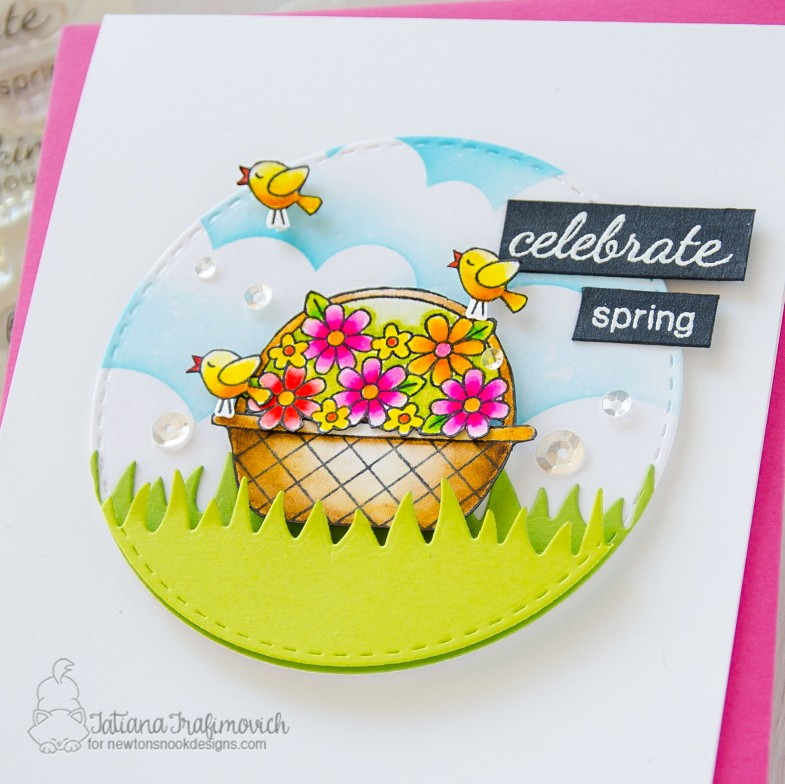 Celebrate Spring #handmade card by Tatiana Trafimovich #tatianacraftandart - Basket of Wishes stamp set by Newton's Nook Designs #newtonsnook