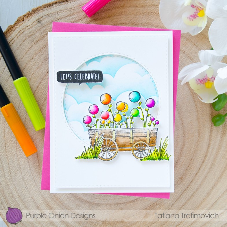 Let's Celebrate #handmade card by Tatiana Trafimovich #tatianacraftandart - stamps by Purple Onion Designs #purpleoniondesigns
