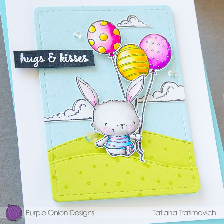 Hugs & Kisses #handmade card by Tatiana Trafimovich #tatianacraftandart - stamps by Purple Onion Designs #purpleoniondesigns