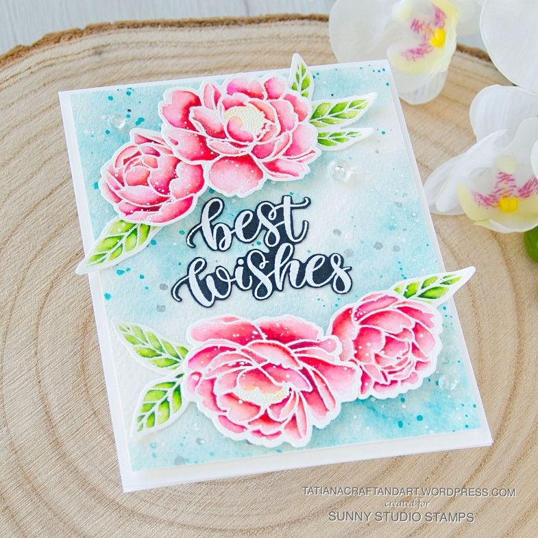 Best Wishes #handmade card by Tatiana Trafimovich #tatianacraftandart - stamps and dies are by Sunny Studio Stamps #sunnystudiostamps