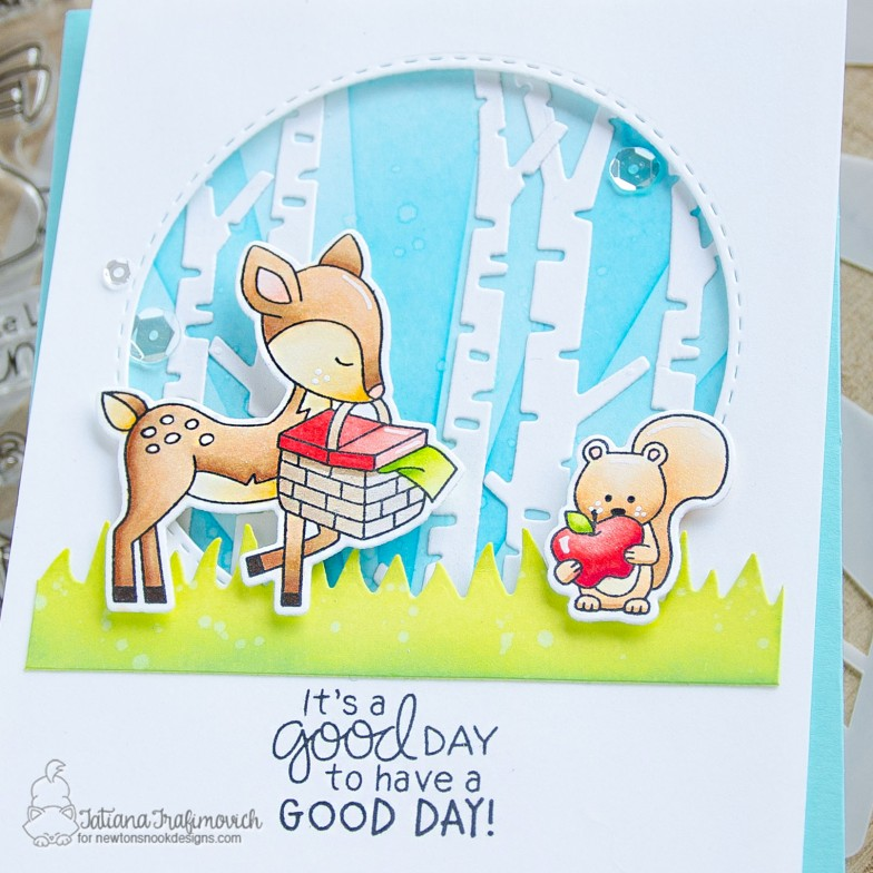 It's A Good Day To Have a GOOD DAY! #handmade card by Tatiana Trafimovich #tatianacraftandart - Woodland Picnic stamp set by Newton's Nook Designs #newtonsnook