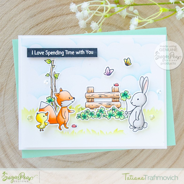 I Love Spending Time With You #handmade card by Tatiana Trafimovich #tatianacraftandart - Cottontail Cuties stamp set by SugarPea Designs #sugarpeadesigns