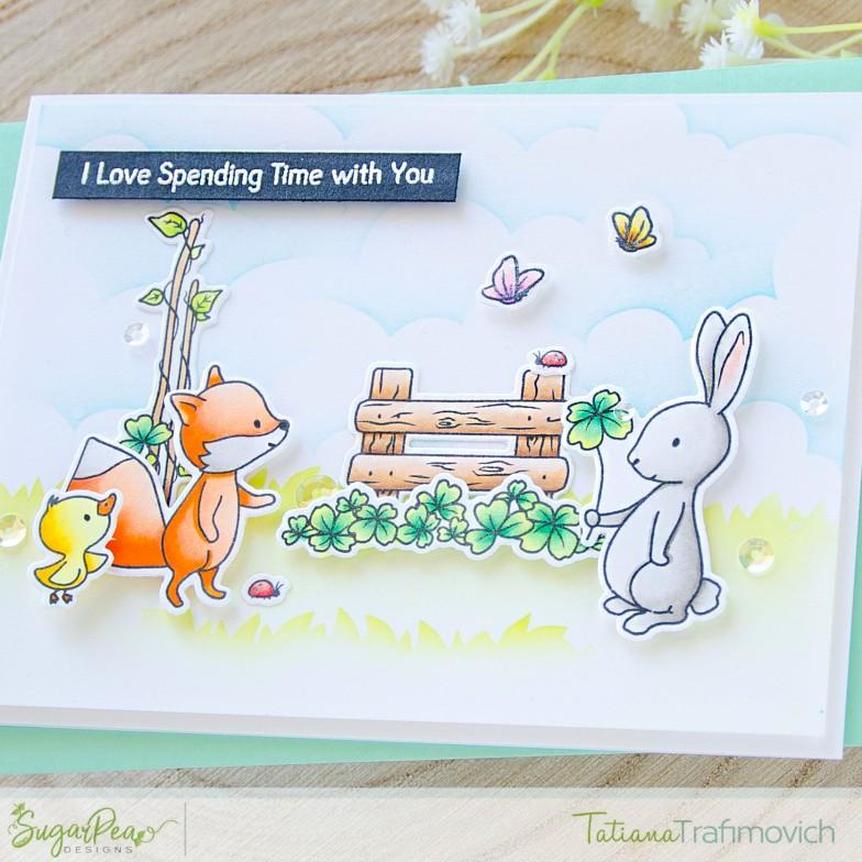 I Love Spending Time With You #handmade card by Tatiana Trafimovich #tatianacraftandart - Cottontail Cuties stamp set by SugarPea Designs #sugarpeadesigns