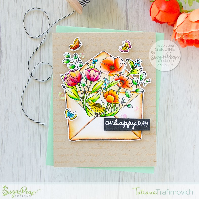 Oh, Happy Day #handmade card by Tatiana Trafimovich #tatianacraftandart - Floral Envie stamp set by SugarPea Designs #sugarpeadesigns