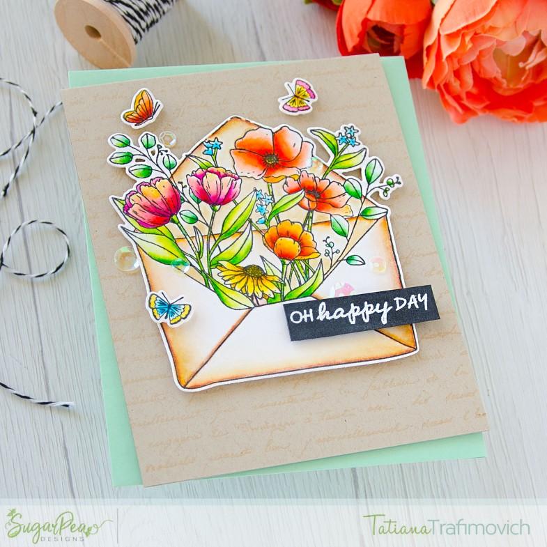 Oh, Happy Day #handmade card by Tatiana Trafimovich #tatianacraftandart - Floral Envie stamp set by SugarPea Designs #sugarpeadesigns