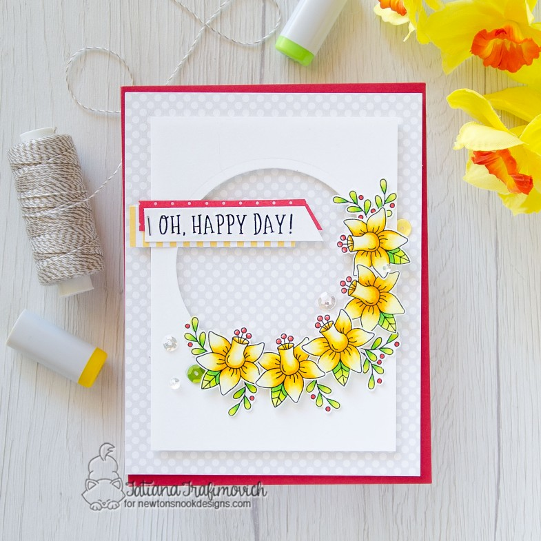 Oh, Happy Day! #handmade card by Tatiana Trafimovich #tatianacraftandart - Floral Roundabout stamp set by Newton's Nook Designs #newtonsnook