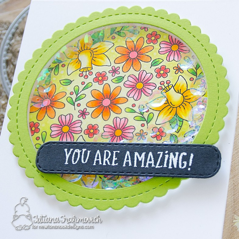 You're Amazing #handmade card by Tatiana Trafimovich #tatianacraftandart - Floral Roundabout stamp set by Newton's Nook Designs #newtonsnook