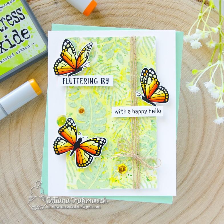 Fluttering By... #handmade card by Tatiana Trafimovich #tatianacraftandart - Monarchs stamp set by Newton's Nook Designs #newtonsnook