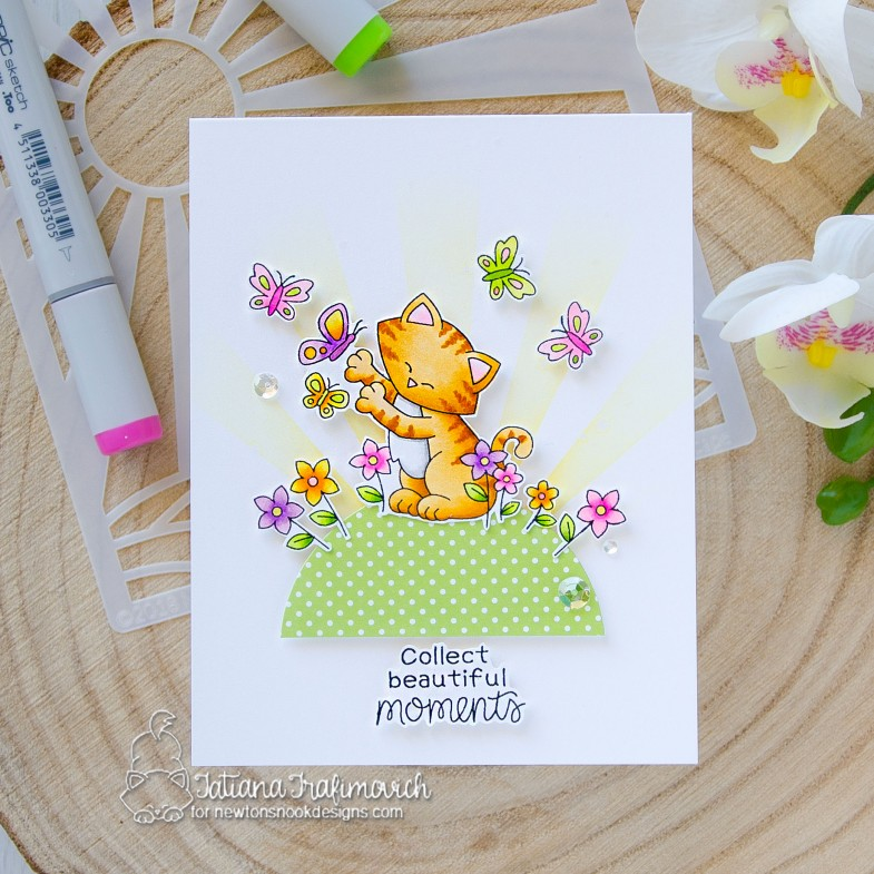 Collect Beautiful Moments #handmade card by Tatiana Trafimovich #tatianacraftandart - Newton's Flower Garden stamp set by Newton's Nook Designs #newtonsnook