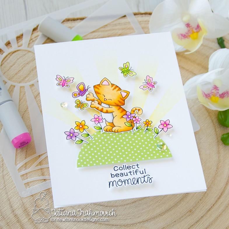 Collect Beautiful Moments #handmade card by Tatiana Trafimovich #tatianacraftandart - Newton's Flower Garden stamp set by Newton's Nook Designs #newtonsnook