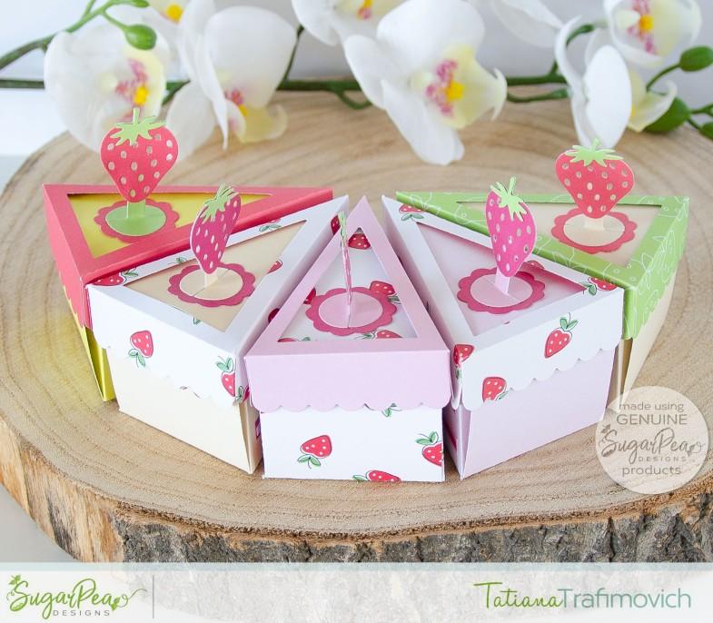 Piece of Cake 3D Boxes #handmade card by Tatiana Trafimovich #tatianacraftandart - Piece of Cake SugarCut by SugarPea Designs #sugarpeadesigns